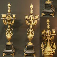 19ème Belle paire grand chandelier bougeoir candélabre 72cm régule socle marbre. Start 10,50 EUR