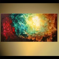 Original Contemporary Teal Abstract Acrylic por OsnatFineArt