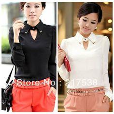 1pc New Hotsale Fashion Women Black & White OL Lapel Chiffon Regular Shirt Blouse  651310