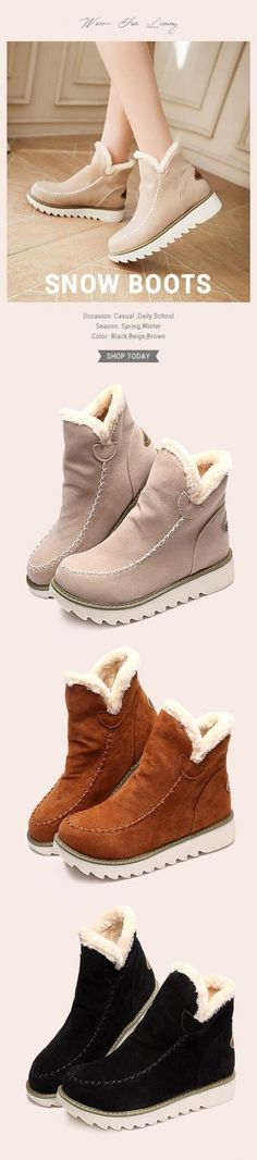 Lostisy LOSTISY Big Size Pure Color Warm Fur Lining Winter Ankle Snow Boots For Women is hot-sale. Come to NewChic to buy womens boots online. Ankle Snow Boots, Thigh High Boots Heels, Knee Boots, Heeled Boots, Women's Boots, High Heels, Dress Boots, Winter Stil, Casual Winter