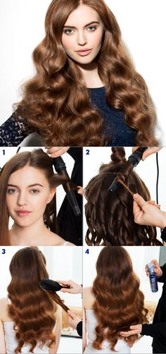 1. Using a medium-sized curling wand, wind each section of hair around the wand, back away from the face to create beautiful waves. 2. Continue the same sectioning pattern up the hair until all the hair has been curled. 3. Using a natural bristle brush, thoroughly brush the hair through to smooth the cuticle and create voluptuous waves. 4. When the look is finished, use Diamond Volume hairspray for hold and shine. #nivea #hair #style #waves #glamour #tutorial