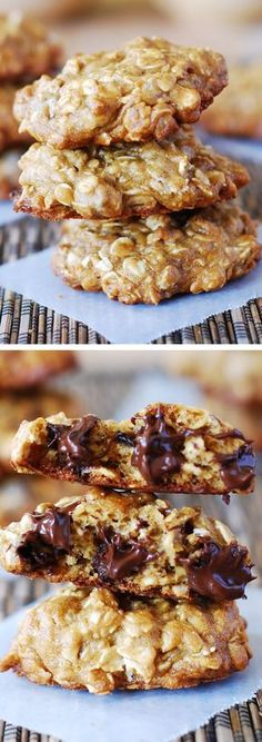 Thick and chewy banana oatmeal cookies with chocolate chips. They are low fat, with most of the butter/oil replaced with banana and yogurt.