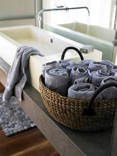 A nice basket on the vanity makes a great place to keep hand towels and other small items.