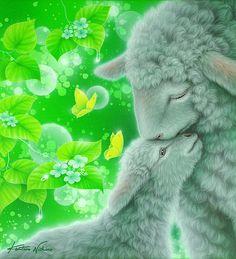 Don't Worry 5 Art Print by Kentaro Nishino Sheep Paintings, Animal Paintings, Baby Animals, Cute Animals, Animal Babies, Easter Wallpaper, Nature Artists, Mundo Animal, Beautiful Drawings