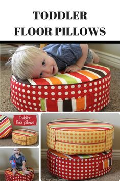 Make your own fun toddler floor pillows - cozy and fun to play on. Pick fabric to match your decor or favorite color. #sewingtutorials #sewingforkids