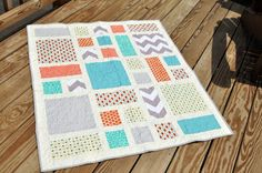 Gender Neutral Baby Quilt, Modern Baby Quilt