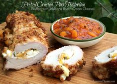 Pretzel Crusted Pork Tenderloin stuffed with Jalapeno Peach Cream Cheese.  The flavors & textures are amazing.