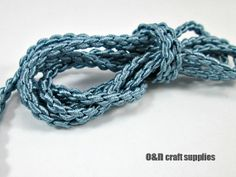 Satin chain braided silk cord blue 1meter by OandN on Etsy, $1.20  #rope #cord #jewelrysupplies #craftsupplies