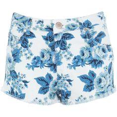 Miss Selfridge Blue Vintage Floral Short ($57) ❤ liked on Polyvore