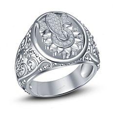 Size 7-14  Simulated Diamond Lord Ganesha Men's Band Ring 14K White Gold Finish  #beijojewels #MensBandRing #EngagementWeddingAnniversaryPartyWear