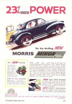 '57 Morris Minor 1000 BMC Aussie Original Magazine Advertisement Classic Auto, Classic Cars, Vintage Advertisements, Vintage Ads, Australian Cars, Morris Minor, Car Posters, Car Advertising, New Engine