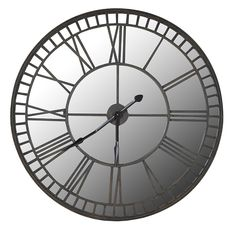Industrial Large Antiqued Clock With Mirrored Face [EXI2912] : Beau Decor