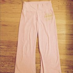 """Victoria's Secret PINK velour sweatpants So cute below sweatpants with embroidery that says """"the pinks love and rock and roll all around the world '86 tour"""" waist panel can fold down PINK Victoria's Secret Pants"""