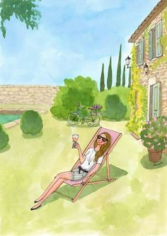 Kanako. Travel Illustration, Cute Illustration, Art Sketches, Art Drawings, Little Paris, Craft Images, Hello Weekend, Pretty Drawings, Cottage Art