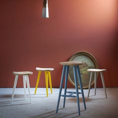Miniforms Lechuck Stool Wooden barstool available in different colours from Harrogate Interiors