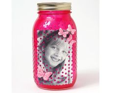 Mod Podge Rocks! Photo Mason Jar with Butterflies and Glitter