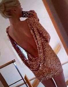 Adore the drop back, rose gold color, and the sequin look!!!!!!!!!!!! #love
