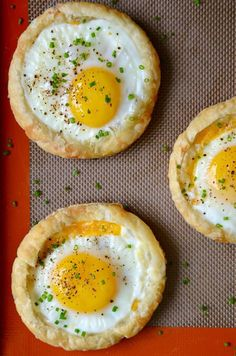 Preheat your oven for the easiest, cheesiest baked eggs recipe made in store-bought puff pastry.