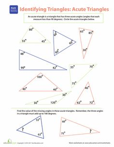 Worksheets: Identifying Triangles: Acute Triangles
