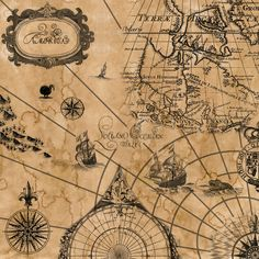 vintage sailing map . . .  @Brynn Shepherd Hays this could go in your pirate room! :) -- SO cool!