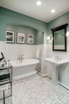 White, elegant bathroom tile - Hampton Delray Marble Mosaic Tile https://www.tileshop.com/product/657370-P.do