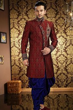 USD 266.23 Maroon Sequin Work Pathani Suit 40999