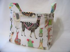 PK Fabric Basket in Lovely Llamas - Storage Basket - Diaper Caddy - Ready To Ship - Reversible by PKStuff on Etsy