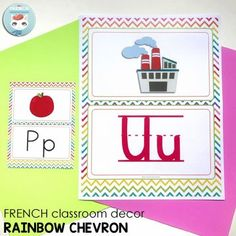 French Classroom Decor Rainbow Chevron: printable set to decorate and organize your French classroom, including posters, supply labels, name tags, and more! French Teacher, Teaching French, French Classroom Decor, French Alphabet, Alphabet Posters, Supply Labels, Rainbow Chevron, French Immersion