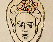 Frida Kahlo with flowers hand embroidered patch