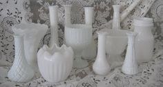 Milk Glass Set L 12 Free Shipping to US All by upcyclesisters, $102.00