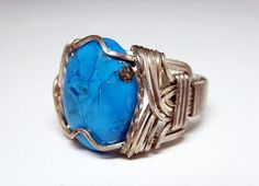 New Listings Daily - Follow Us for UpDates -  Description or Style:   Sterling Wrapped Ring - Oval Turquoise Stone - Size 12 - Mens or Womens Ring - #Southwestern #Modern Style -Vintage  1970's Artisan Piece offered by T... #vintage #jewelry #teamlove #etsyretwt #ecochic #southwestern #modern #thejewelseeker
