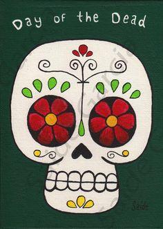 dia de los muertos super cute skull. Would look cute as a hanging banner painted on canvas. www.CasitasSayulita.com