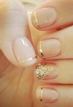Clear nails and gold detailing