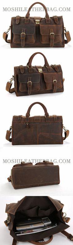 Handmade Vintage Style Genuine Leather Travel Bag Men Duffle Bag Large Capacity Gym Bag With Shoulder Strap 8895