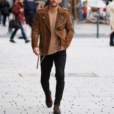 Suede jacket, black jeans and #chelseaboot by @kosta_williams ✨ [ http://rstyle.me/n/b827ns3pme ] http://www.uksportsoutdoors.com/product/mizuno-core-square-5-5-short-mens-running-shorts/