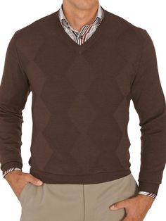 100% Cotton Textured V-Neck Sweater from Paul Fredrick