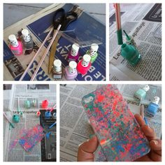 Cool nail polish phone case!!!! DIY