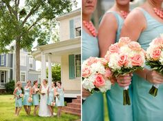 Absolutely in love with these pale teal and coral bridesmaids from Katelyn James Photography