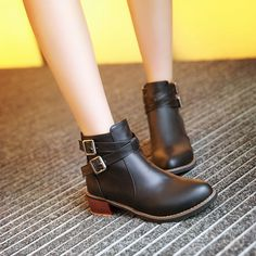 best sneakers cf8c1 f7f89 Buckle Ankle Boots Women Shoes Fall Winter