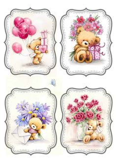 jolies étiquettes Cute Images, Cute Pictures, Teddy Bear Pictures, Diy And Crafts, Paper Crafts, Cute Teddy Bears, Tatty Teddy, 3d Cards, Baby Cards