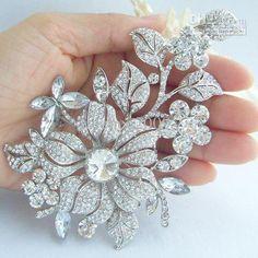 Wholesale Brooch Flower - Buy 4.72Bridal Orchid Flower Brooch Pin W Clear Rhinestone Crystals EE04712C1,