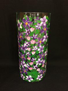 Hand Painted Glass Cylinder Vase  Spring Garden by EverMyHart