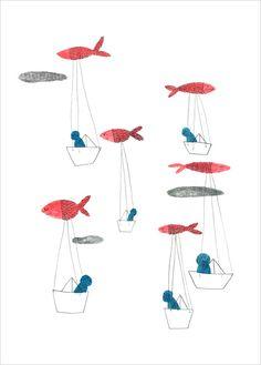 Affiche illustration thème Poissons et Voyage, Marion Barraud