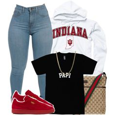 A fashion look from January 2016 featuring Puma sneakers e Gucci shoulder bags. Browse and shop related looks.