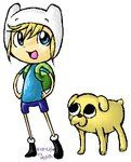 A Chibi version of Finn and Jake from Adventure Time with Finn and Jake.