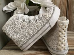 Flower Gril Beaded Lace High Top Sneakers Pearl Rhinestone Crystal Beaded All Lace