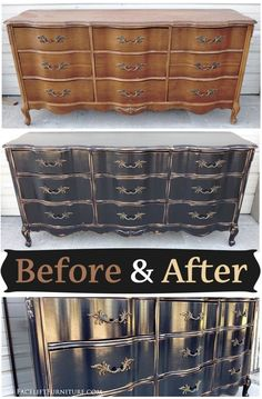 French provincial dresser in distressed black - Before & After from Facelift Furniture #repurposedfurnitureideas