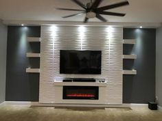 Recessed Electric Fireplace DIY Design Your Home with Confidence. Designed with front heating vent so that the unit can be f… – Decor – fireplace Fireplace Tv Wall, Basement Fireplace, Fireplace Inserts, Living Room With Fireplace, Fireplace Design, Linear Fireplace, Living Room Decor Tv, Fireplace Ideas, Recessed Electric Fireplace