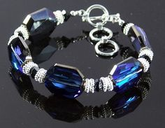 Bermuda Blue Bracelet - made with Swarovski Crystals, and .925 Sterling Silver