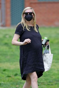 A Pregnant Kirsten Dunst Visits The Park With Her Son Pregnant Celebrities, Kirsten Dunst, White Lace, Sons, Pregnancy, Actresses, Shirt Dress, Second Child, Park